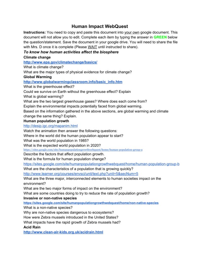 Human Impact WebQuest