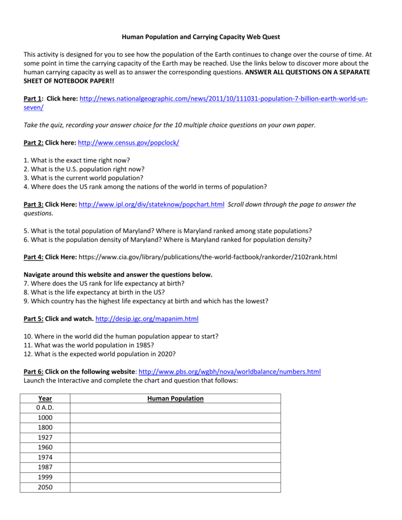 worksheet Human Population Worksheet human population and carrying capacity web quest this activity is