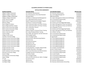 listed articulation agreements. - California University of Pennsylvania