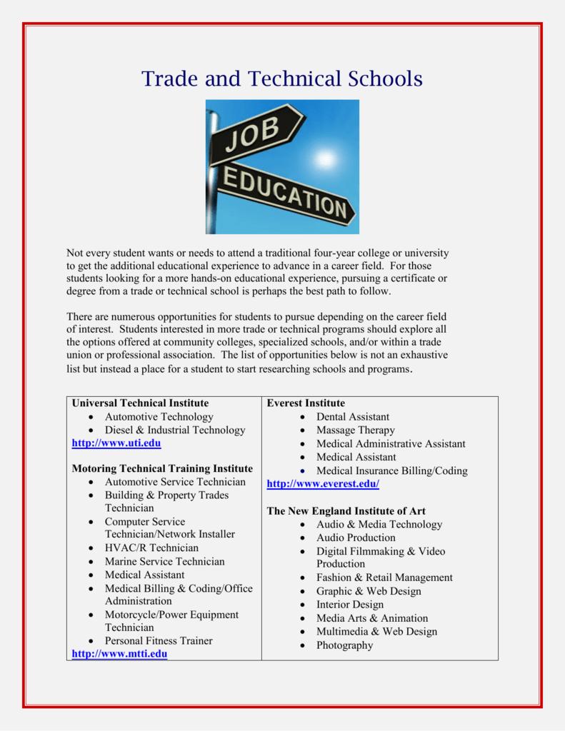 Trade School Programs >> Trade And Technical Schools
