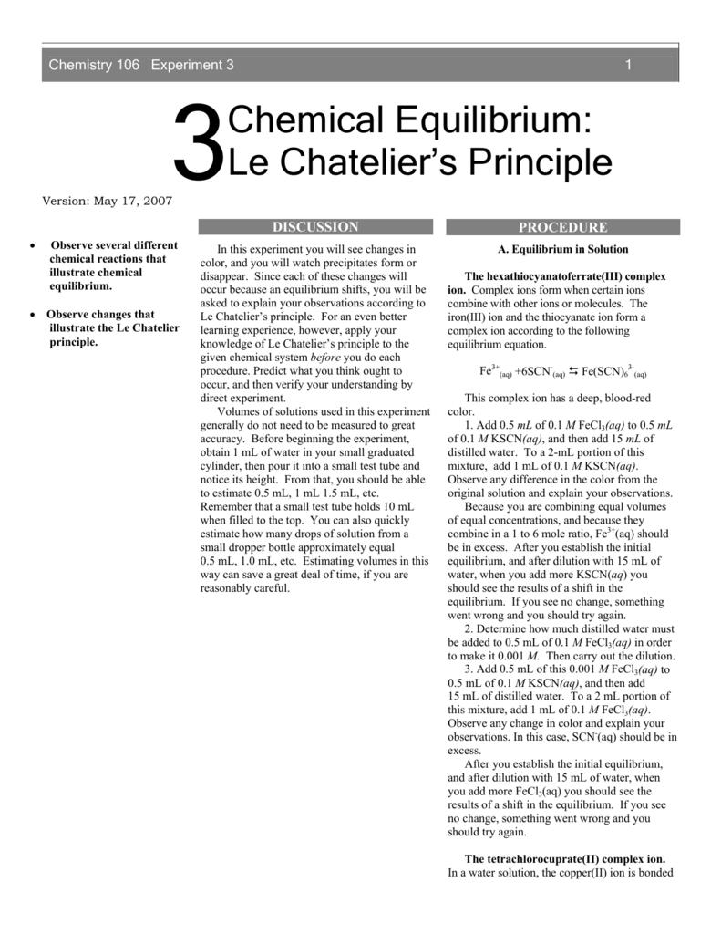 Chemical Equilibrium Le Chateliers Principle