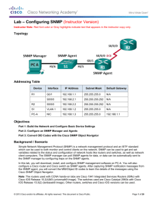Lab – Configuring SNMP (Instructor Version)