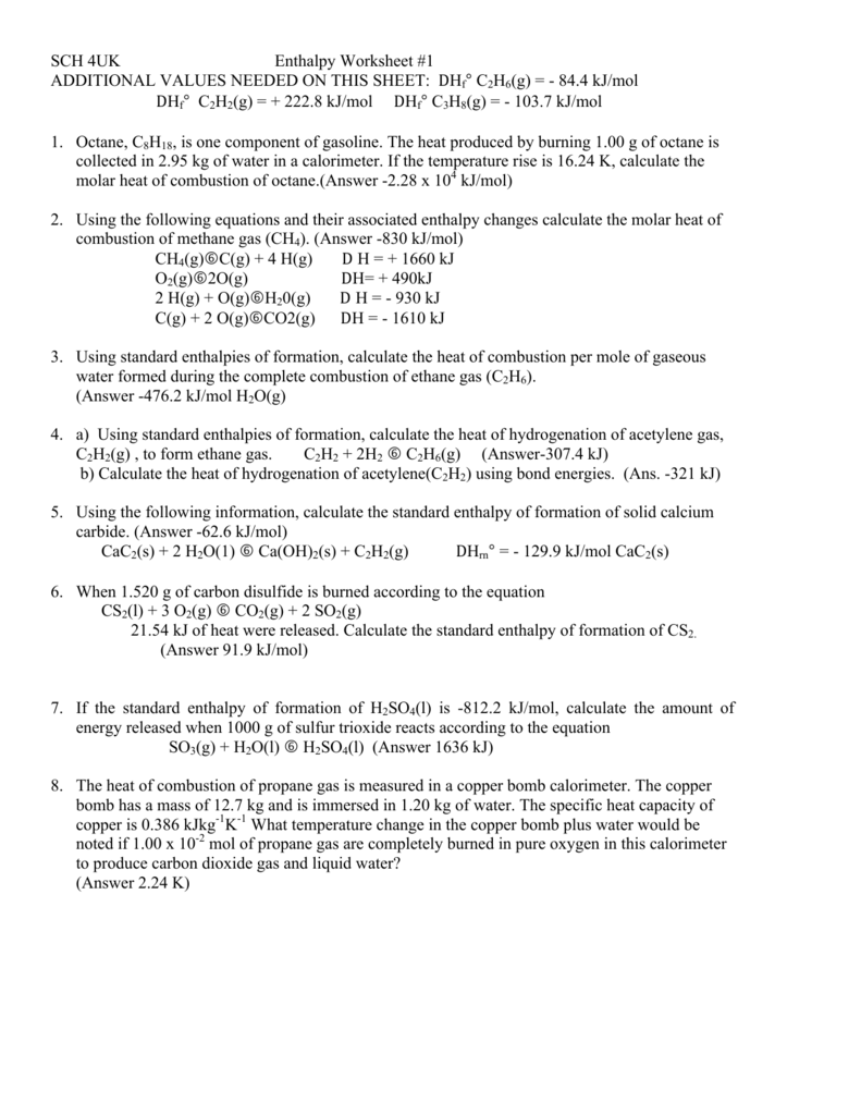 Enthalpy Worksheets 1 2