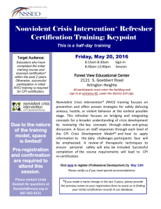 Nonviolent Crisis Intervention® Refresher Certification Training