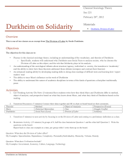 Durkheim on Solidarity
