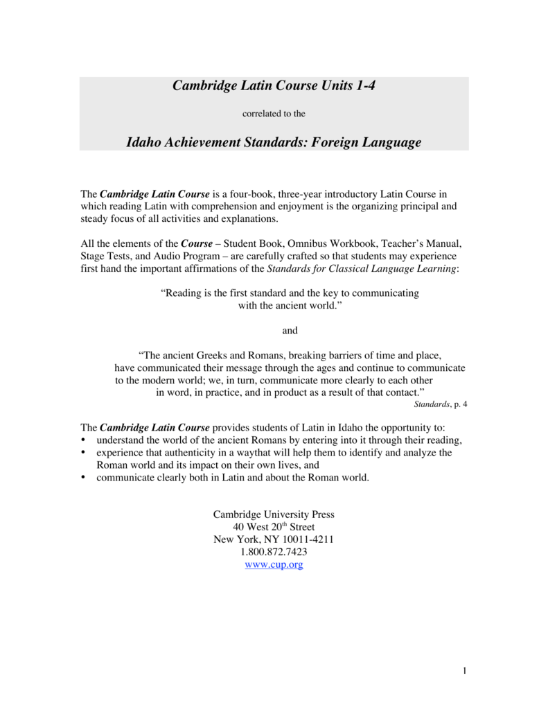 Cambridge Latin Course Units 1-4