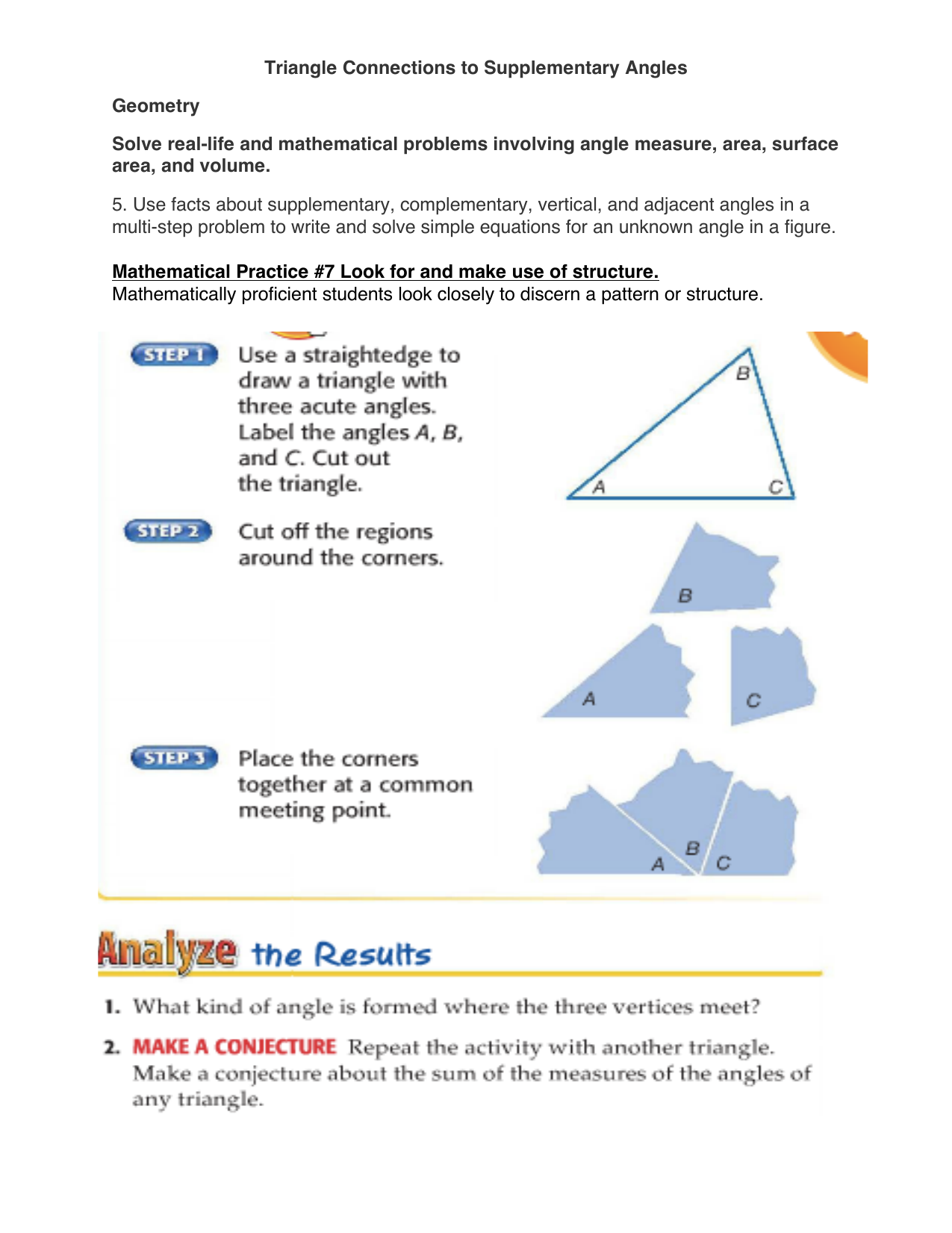 Triangle Connections To Supplementary Angles Geometry Solve Real