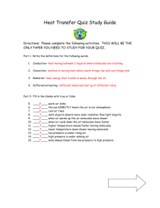Heat Transfer Quiz Study Guide Answers