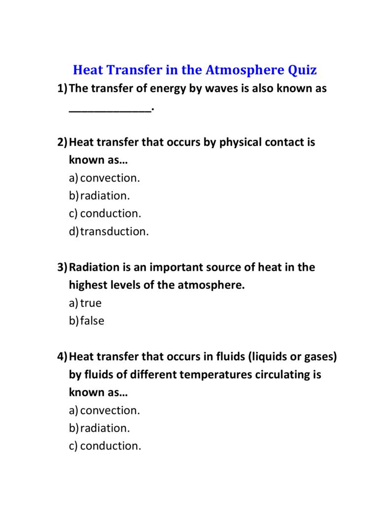 Heat Transfer in the Atmosphere Quiz