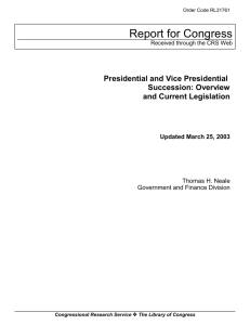 Presidential and Vice Presidential Succession: Overview and