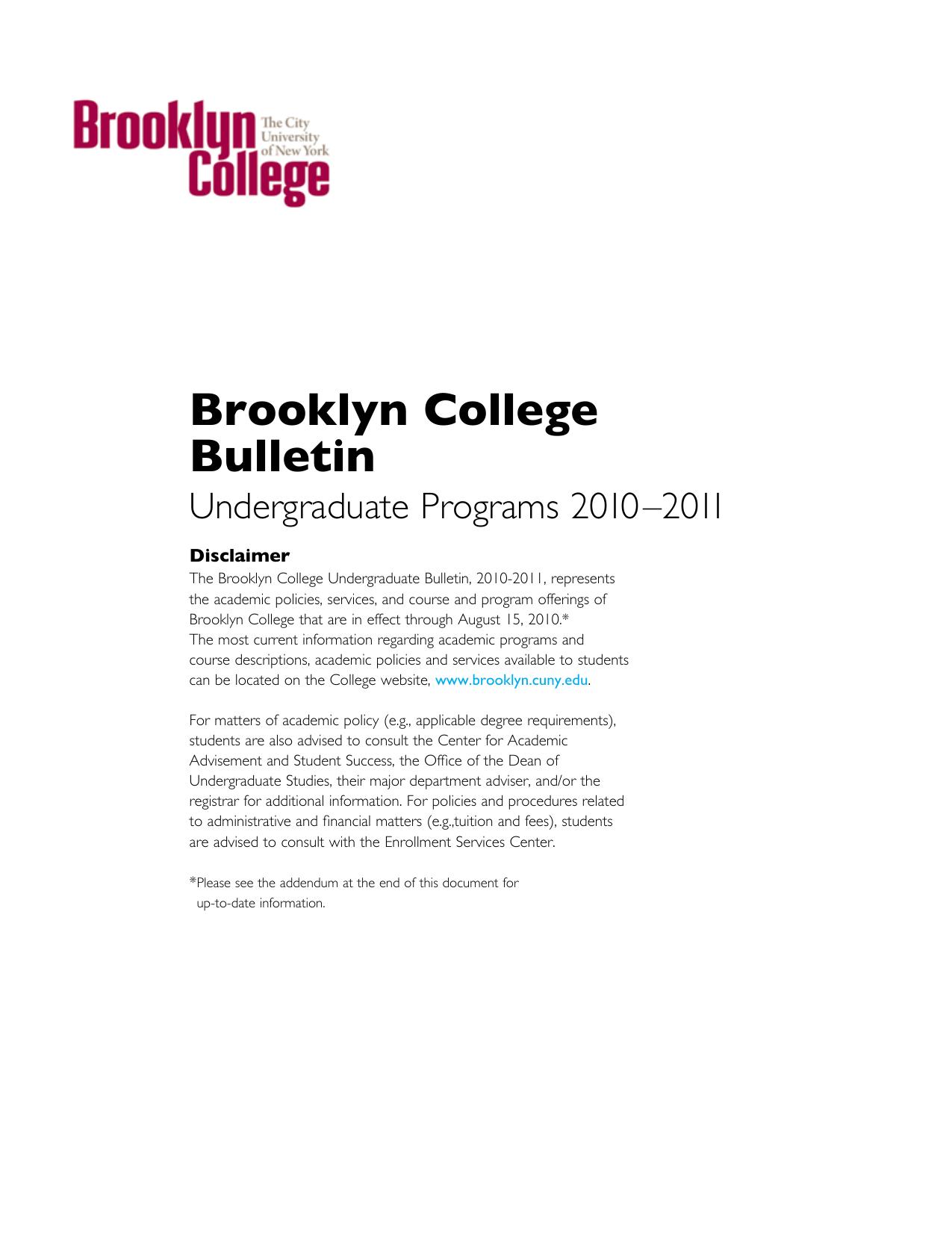 Undergraduate Bulletin 2010–2011 - Brooklyn College