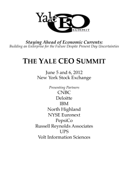 the yale ceo summit - Yale School of Management