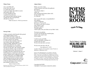 Poems in the Waiting Room Volume I, Issue 1 ()