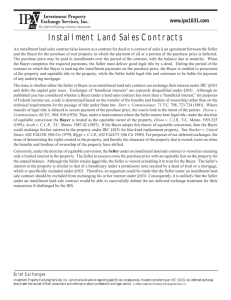 Installment Land Sales Contracts