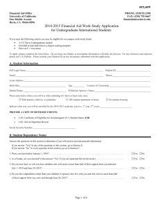 2014-2015 Financial Aid Work-Study Application for Undergraduate