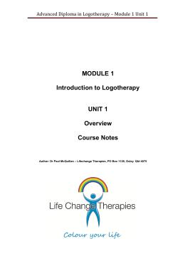 Advanced Diploma in Logotherapy – Module 1 Unit 1