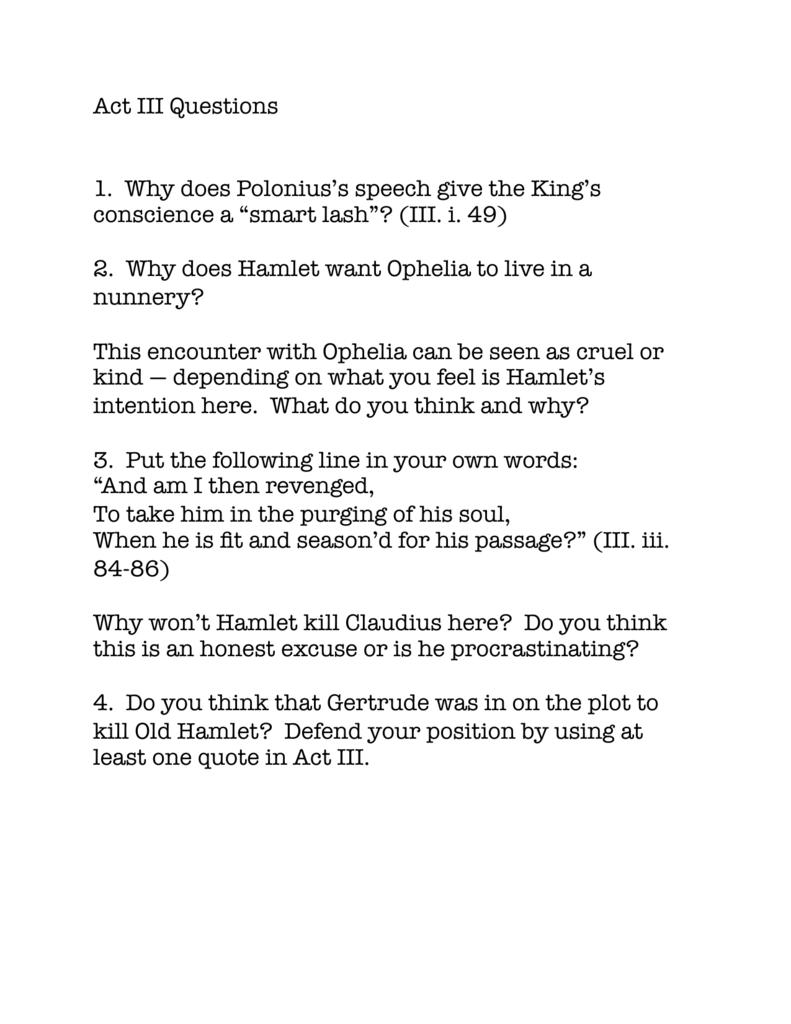 Hamlet Act 3 Question Walpole Film Festival 1 Scene 2 King Claudiu Speech Analysis