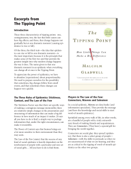 Excerpts from The Tipping Point