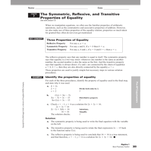 The Symmetric, Reflexive, and Transitive Properties of Equality