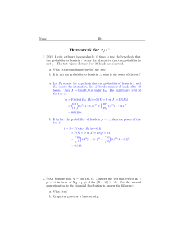 Homework for 2/17 - Department of Statistics and Probability