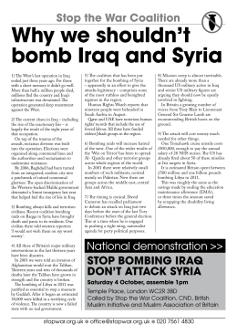 leaflet PDF: Why we shouldn't bomb Iraq and Syria