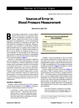 Sources of Error in Blood Pressure Measurement