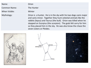 Name: Orion Common Name: The Hunter When Visible: Winter