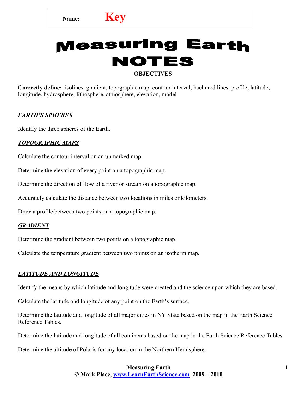 Measuring Earth Notes Key