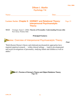 Horney and Relational Theory