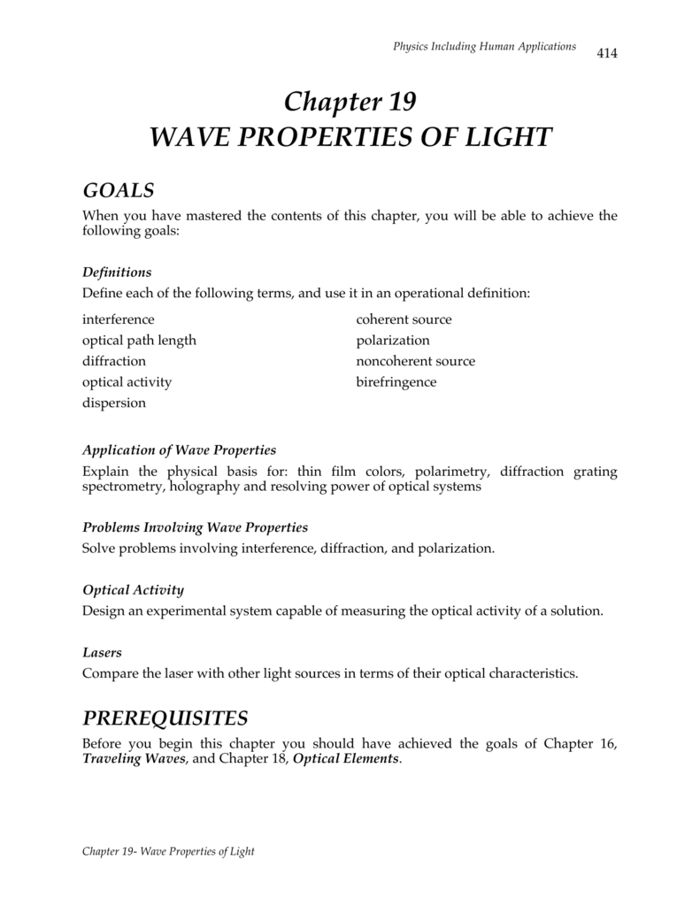 Chapter 19 WAVE PROPERTIES OF LIGHT