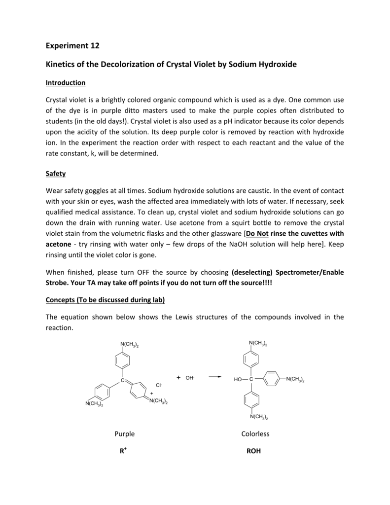 crystal violet and sodium hydroxide reaction order