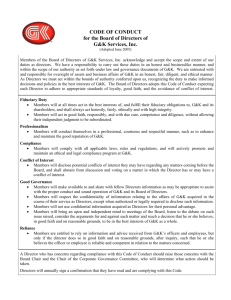 Code of Conduct for the Board of Directors of McDonald's Corporation
