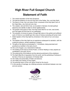 High River Full Gospel Church Statement of Faith