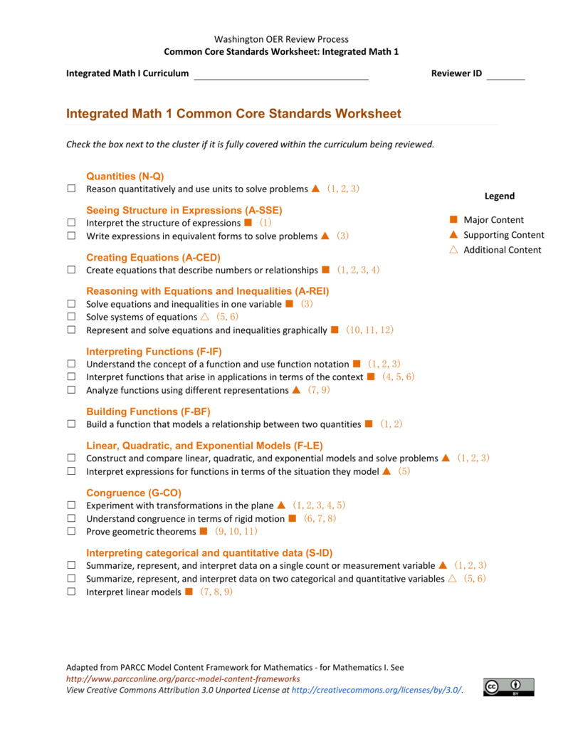 worksheet Math Models Worksheets 4 integrated math 1 common core standards worksheet