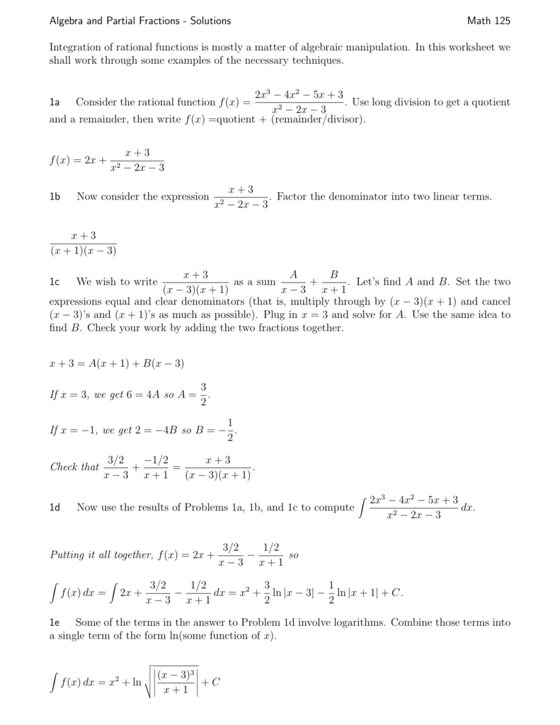 Algebra and Partial Fractions - Solutions Math 125