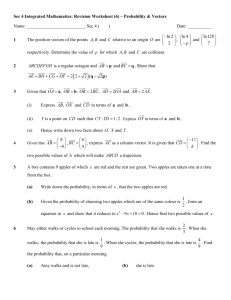 Sec 4 Integrated Mathematics: Revision Worksheet (6) – Probability