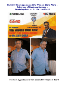 Shri.Shiv Khera speaks on Why Winners Stand Alone – Principles of