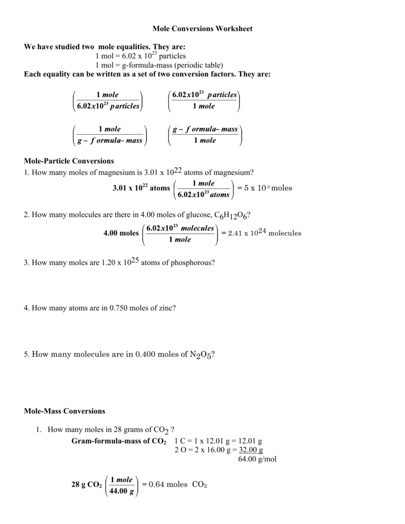 Worksheets Mole Conversion Worksheet Answers Cheatslist