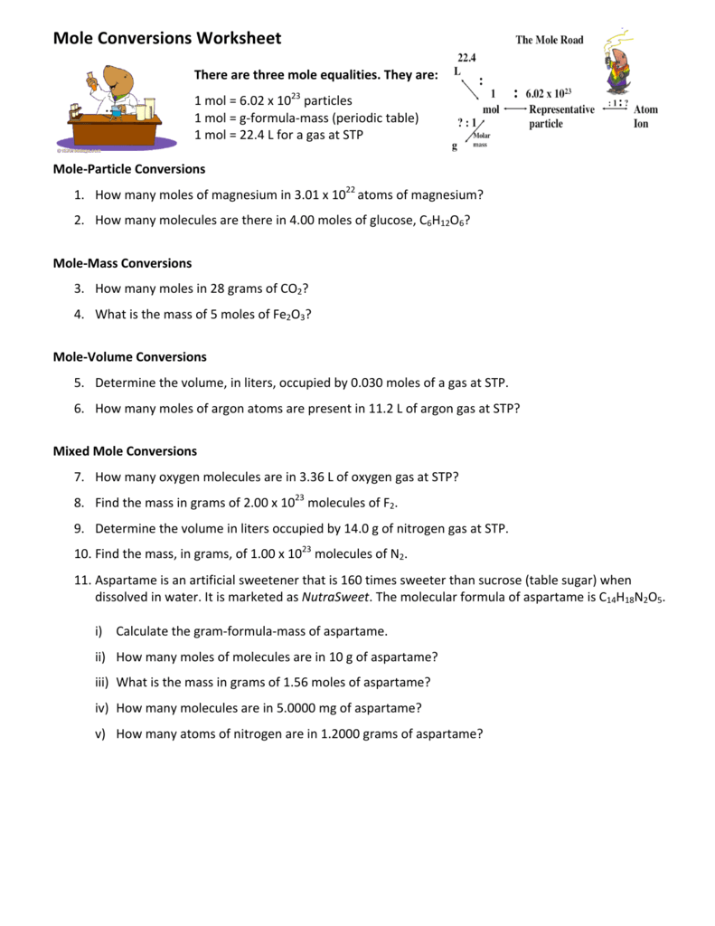 - Mole Conversions Worksheet