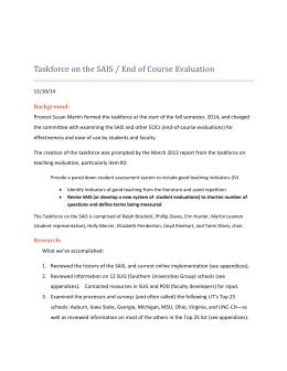 Taskforce On The SAIS / End Of Course Evaluation