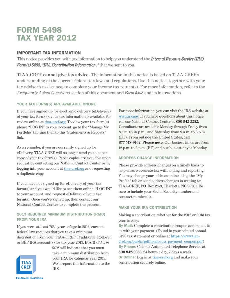 FORM 5498 TAX YEAR 2012 - TIAA-CREF