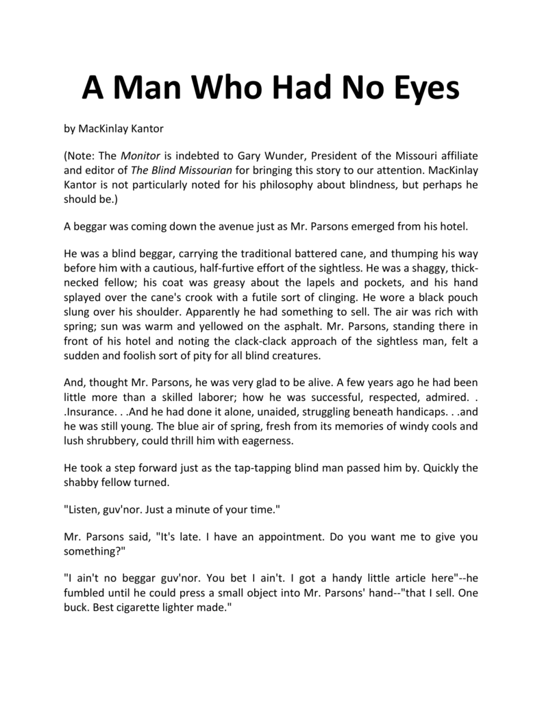 the boy with no eyes story