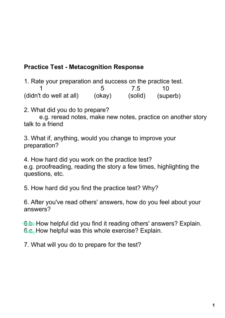 Practice Test Metacognition Response 1  Rate your