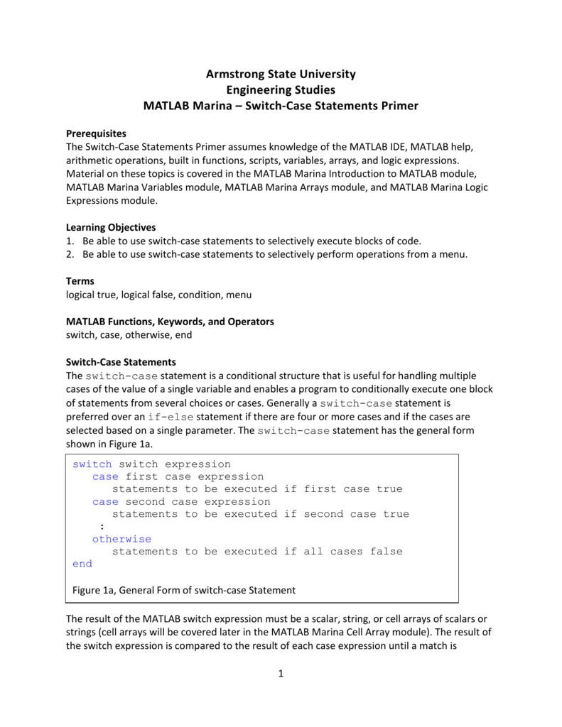 Switch-Case Statements Primer