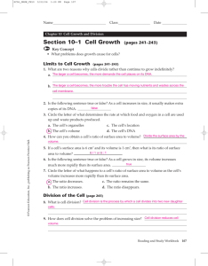 Section 10–1 Cell Growth (pages 241–243)