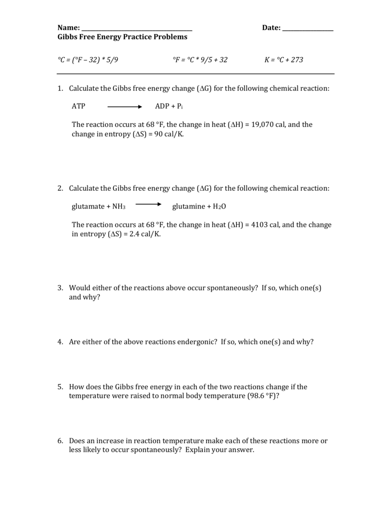 Gibbs Free Energy Practice Problems