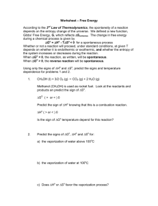 Worksheet – Free Energy According to the 3rd Law of