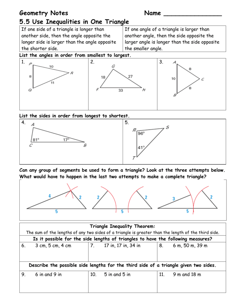 Geometry Notes Name 225.225 Use Inequalities in One Triangle For Triangle Inequality Theorem Worksheet