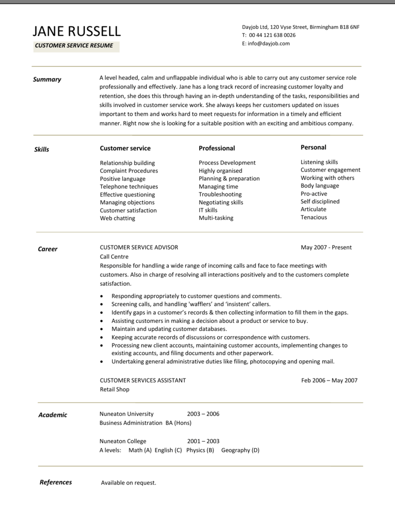 Customer service resume CV examples