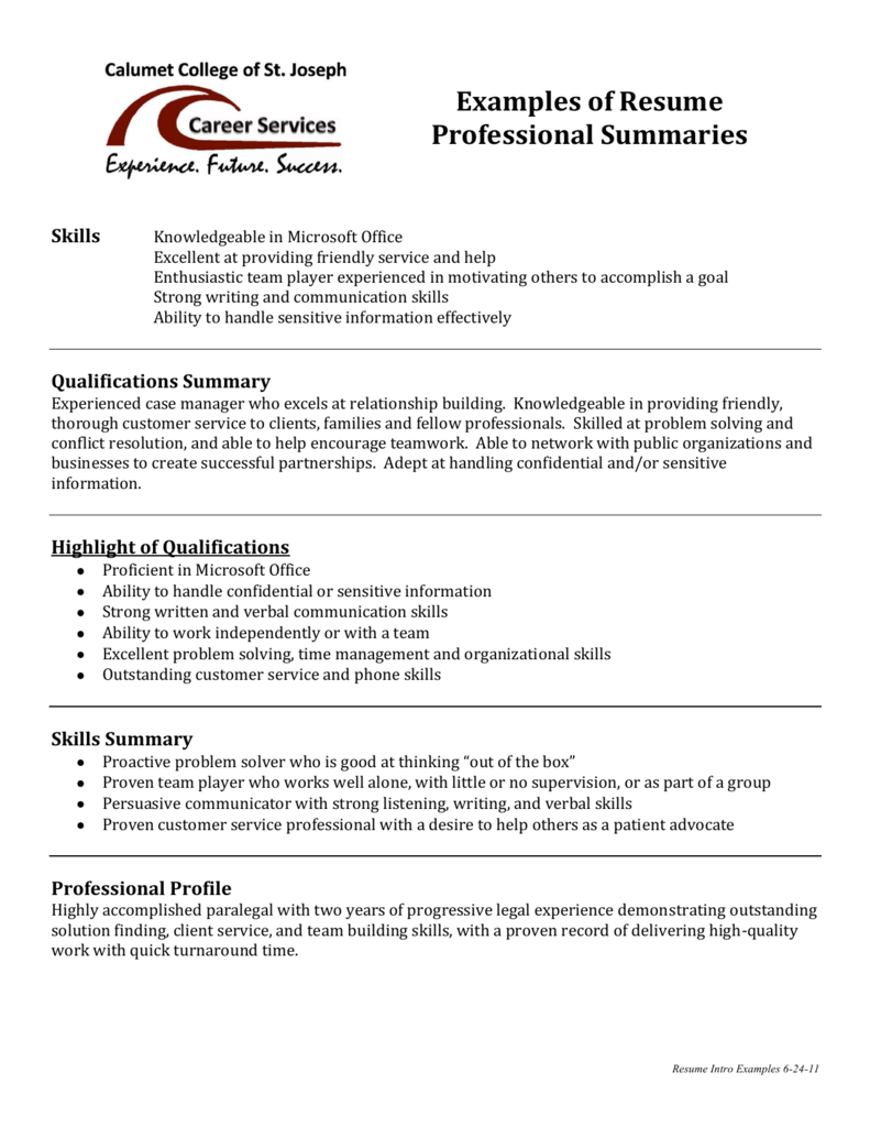 Examples Of Resume Professional Summaries